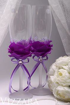 me ~ Wedding champagne flutes Cheap champagne flutes Purple champagne flutes Purple weddings Cheap glass champagne flutes Cheap toasting flutes Cheap Champagne Flutes, Wedding Toasting Glasses, Champagne Glasses, The Wedding Date, Wedding Day, Wedding Attire, Wedding Dress, Purple Wedding, Wedding Flowers