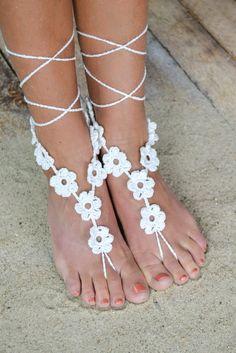 White Multi Flower Crochet Barefoot Sandals
