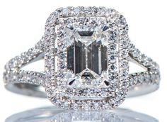 GIA Certified 2 75ct Halo Emerald Cut Diamond Engagement Ring VVS 18K White Gold | eBay