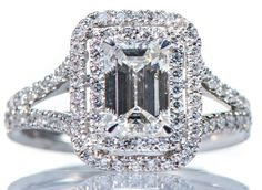 GIA Certified 2 75ct Halo Emerald Cut Diamond Engagement Ring VVS 18K White Gold | eBay
