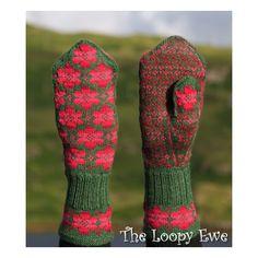 Ravelry: Britta mitten pattern by Johanne Landin to go with hat I just pinned in… Knitted Mittens Pattern, Crochet Mittens, Knitted Gloves, Knitting Socks, Hand Knitting, Knit Crochet, Fingerless Mittens, Knitting Machine, Mittens