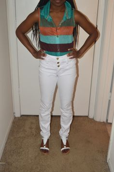 Striped blouse and white high waisted pants