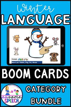 No Print, No Prep, Digital Games to teach categories of nouns: animals, foods, clothing, and vehicles. Winter theme, snowman. Ideal for preschool, kindergarten, speech therapy, autism, special education, and home school. Perfect for virtual learning and hybrid instruction.