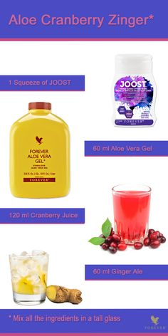 Enhance your beverage! Enjoy this recipe made with our delicious new product JOOST blueberry and our all time favorite Aloe Vera Gel.