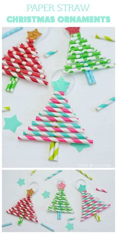 Kids DIY Ornaments: Pretty Paper Straw Christmas Trees Want to make memorable Christmas ornaments with your kids? I've got the perfect craft idea: DIY paper straw Christmas trees. Cheap, easy AND beautiful! Cheap Christmas Ornaments, Paper Christmas Decorations, Preschool Christmas, Christmas Ornaments To Make, Christmas Crafts For Kids, Xmas Crafts, Christmas Diy, Christmas Trees, Diy Ornaments