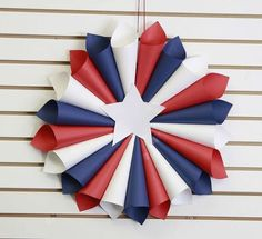 patriotic wreaths that will fill you with pride, crafts, seasonal holiday decor, wreaths, Paper Rolled Red White and Blue Memorial Day Decorations, Memorial Day Wreaths, 4th Of July Decorations, Holiday Decorations, Birthday Decorations, Fourth Of July Decor, 4th Of July Party, July 4th, Patriotic Wreath