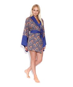 Liberty Print Purple Tatum and Glenjade Cotton Kimono