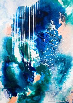 Phthalo_Atmosphere_2_blue_Green_abstract_artwork_50x70cm_artist_Kate_Fisher