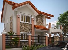 Modern house designs such as has 4 bedrooms, 2 baths and 1 garage stall. The floor plan features of this modern house design are, covered front porch, balcony over garage, walk-in clo… Two Story House Design, Modern Small House Design, 2 Storey House Design, Bungalow House Design, Model House Plan, House Plans, Philippines House Design, Philippine Houses, House Design Pictures