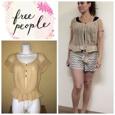 Free People drawstring cardigan - tan Pointelle cardigan with two pom poms that have a drawstring waistline . Will bundle for 10% off . In excellent condition. Size m and will fit a size 6-10 Free People Sweaters Cardigans