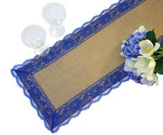 Hey, I found this really awesome Etsy listing at https://www.etsy.com/listing/291477203/burlap-table-runner-royal-blue-lace