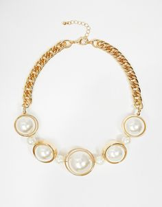 Warehouse Chunky Faux Pearl Collar Necklace