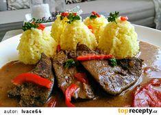 Vepřová játra na paprikách s hlívou ústřičnou recept - TopRecepty.cz Mashed Potatoes, Steak, Food And Drink, Pork, Beef, Fish, Ethnic Recipes, Red Peppers, Whipped Potatoes