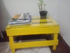 mesa de canto de caixote de feira