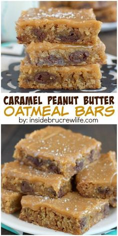 Peanut Butter Oatmeal Bars These caramel peanut butter bars are absolutely delicious! Sweet and salty in every bite!These caramel peanut butter bars are absolutely delicious! Sweet and salty in every bite! Brownie Desserts, Oreo Dessert, Dessert Bars, Cake Bars, Just Desserts, Peanut Butter Oatmeal Bars, Peanut Butter Recipes, Baking Recipes, Cookie Recipes