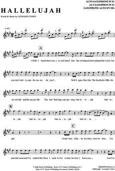 Hallelujah (Alt-Sax) Jeff Buckley - Leonard Cohen [PDF Noten] >>> KLICK auf die Noten um Reinzuhören <<< Noten und Playback zum Download für verschiedene Instrumente bei notendownload Blockflöte, Querflöte, Gesang, Keyboard, Klavier, Klarinette, Saxophon, Trompete, Posaune, Violine, Violoncello, E-Bass, und andere ...