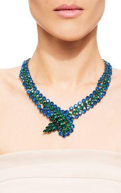 1950'S Blue And Green Rhinestone Necklace by Carole Tanenbaum