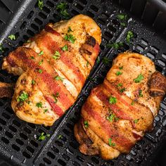 Air Fryer Bacon Wrapped Chicken Air Fryer Recipes Chicken Breast, Chicken Breast With Bacon, Air Fryer Recipes Low Carb, Air Fryer Dinner Recipes, Bacon Wrapped Chicken, Chicken Breast Recipes Healthy, Quick Dinner Recipes, Chicken Recipes, Healthy Meals