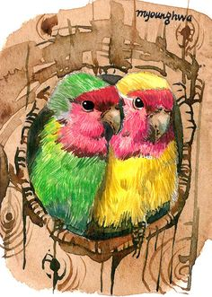 ACEO Limited Edition 4/25- Lovebirds art print of an ORIGINAL ACEO watercolor by Anna Lee, Gift idea for bird lovers and housewarming party