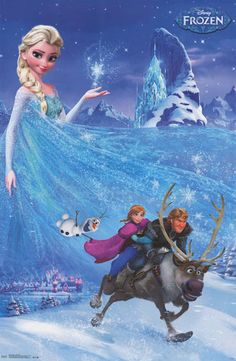 A great poster featuring the cast from Disney's hit film Frozen! A great item for kids rooms. Fully licensed. Ships fast. 22x34 inches. Need Poster Mounts..? bm9974 sc13242 td