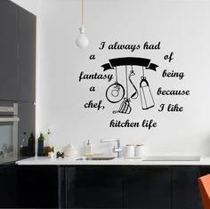 Wall Decal Quote Vinyl Sticker Decal Art Home Decor Mural Decals Cafe Kitchen Restaurant Quotes I Always Had A Kitchen Appliance Decal MS110