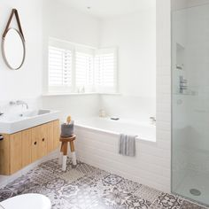 After bathroom design ideas? Take a look at this white scheme with wooden vanity unit and patchwork tiles for inspiration