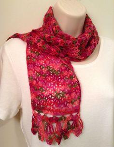Pink Lace Crochet Scarf by SueAnnesKnitShoppe on Etsy