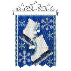 Beaded Banners, Beaded Christmas Ornaments, Beaded Crafts, Christmas Sewing, Pony Beads, Craft Kits, Ice Skating, Hama Beads, Blue Gold