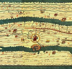 Ancient World Maps: 4th century-The Tabula Peutingeriana This Roman map of the acient world shows the road network in the Roman Empire in the 4th century and covers Europe, parts of Asia (India) and North-Africa.   Detalle de Roma