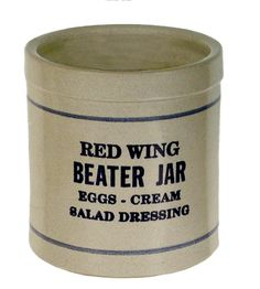 The Red Wing Beater Jar has been an American kitchen classic for over 100 years. The rounded inside bottom of this old-fashioned hand-thrown piece makes it a breeze to mix salad dressings, eggs, sauces and marinades. The Blue Fern decoration is shown in the photo.