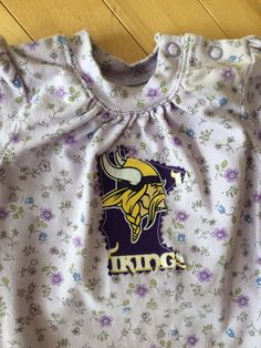 e948412ab Minnesota Vikings Baby Girl Onesie ~ Size 0-3 Mo ~ Floral Print w/ MN  Vikings Appliqué ~ UPcycled ~ Perfect Gift for Baby Vikings Fan ~ Skol