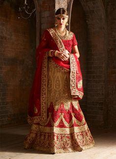 Buy Deserving Resham Work Beige and Red A Line Lehenga Choli, Online  #ethnic #indianethnic #indianethnicwear #indianwedding #bridalwear