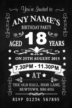 Vintage Chalkboard Style Black And White 18Th Birthday Party Personalised InvitationsThese fantastic high quality Vintage Chalkboard Style Black And