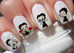 Betty Boop Nail Decals by AMstickers on Etsy