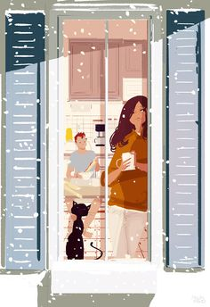 Pascal Campion「One more snow day」 Couple Illustration, Illustration Art, Christmas Illustration, Pascal Campion, Timberwolf, Art Aquarelle, Anime Chibi, American Artists, Cat Art
