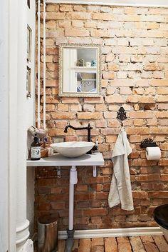 bathroom, exposed brick, loft spaces