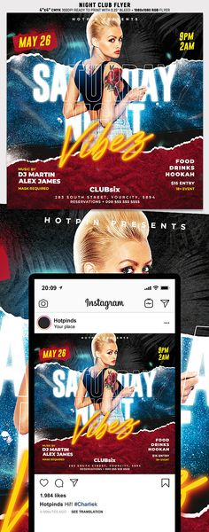 """Night Club Flyer Template is very modern psd flyer that will be the perfect invitation for your Night Club event or party! All elements are in individual layers and the text is fully editable! 2 PSD files - 4""""x4"""" with 0.25"""" bleed + 1080x1080 Rgb Social media ready Clearly labelled folders and layers Club Flyers, Party Flyer, Menu Restaurant, Print Templates, Flyer Template, Night Club, Card Templates Printable"""