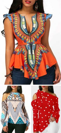 Cute tops for women at Rosewe.com, free shipping worldwide, check them out. African Attire, African Wear, African Dress, African Fashion, Trendy Dresses, Fashion Dresses, Look Fashion, Womens Fashion, Fashion Trends