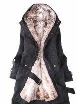 SGG Winter Warm Fur Jacket Wrap Trench Coat Hooded Womens  WANT!!!