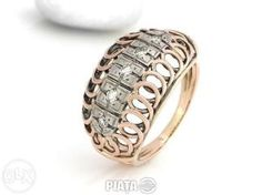 Vestimentatie, Bijuterii, accesorii, Inel antik cu diamante ca. 0, 25 crt aur 14k rosu si alb, imaginea 1 din 2