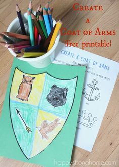 Create a Coat of Arms Activity {Free Printable!} for your little good deed do-ers! Children can select images that best portray their personalities and strengths and create a visual statement! Coloring, cutting, glue / paste activity for preschool on up. Literacy Activities, Activities For Kids, Castles Topic, Reformation Day, Magic Treehouse, Knight In Shining Armor, Medieval Times, History Medieval, Time Kids