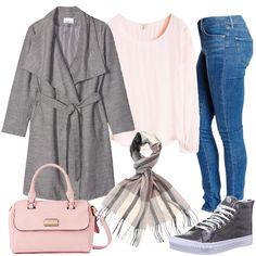 Outfit adatto a tutti i giorni, per sentirsi a proprio agio ovunque, con un occhio di riguardo allo stile. Il look è composto dal jeans skinny, dalla blusa rosa in viscosa e dal cappotto grigio. Completano l'elegante sciarpa in cashmere, le sneakers alte in vernice grigie e la borsa a mano rosa con tracolla