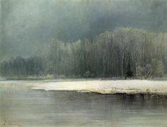 """Winter landscape. Rime"" ""Зимний пейзаж. Иней"" (c. 1870) By Aleksey Savrasov (Алексей Саврасов), from Moscow (1830 - 1897)"