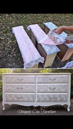 Beautiful and unique way to refinish a dresser