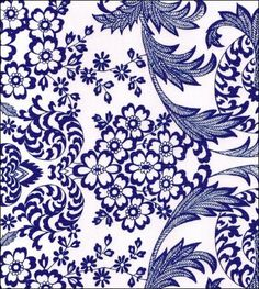 Classic toile print in royal blue on white oilcloth.