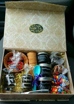 Ice cream sundae in a box. Awsome gift for anyone.