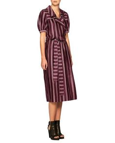 BURBERRY PANAMA STRIPED FAUX-WRAP DRESS. #burberry #cloth #