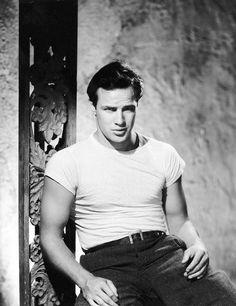 We Had Faces Then — Marlon Brando, 1951, on the set of A Streetcar...