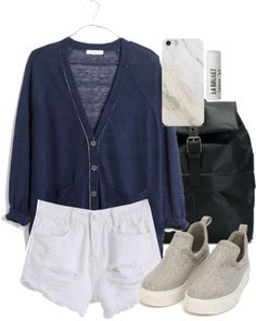 Madewell cardigan / White shorts / Nly Shoes platform shoes, $47 / Ally Capellino leather bag / Samsung iphone case / L A Bruket lip treatment, $14