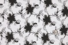 Mood Fabrics : New York Fashion Designer Discount Fabric   FL25336 White/Black Floral Embr & Eyelet